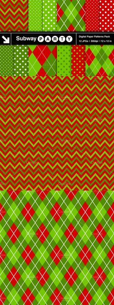 Digital Papers Pack of twelve modern Chevron, Argyle and Polka Dot patterns in Christmas Red, Green and Lime Green with White dots and accent lines. Christmas Items, Christmas Colors, Red Christmas, Xmas, Christmas Patterns, Chevron Patterns, Pattern Paper, Polka Dots, Christmas