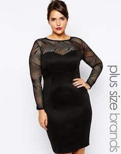 Lipstick Boutique Plus Fitted Dress With Mesh Detail