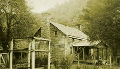 "The two story cabin in this photograph belonged to  Anderson C. ""Preacher Anse"" Hatfield. Preacher Anse lived from 1835 - 1920 and was a cousin to Devil Anse Hatfield of the infamous Hatfield and McCoy Feud. The cabin was located in Logan County, West Virginia."