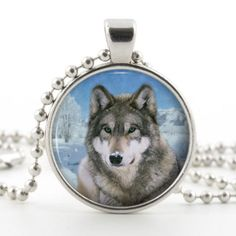 Winter Wolf Glass Photo Pendant Silver Necklace Jewelry by ChicBridalBoutique on Opensky