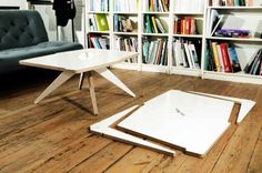 Vic coffee table from Quattria of Barcelona. Cut from one sheet of wood and assembles in seconds. Such an elegant design.
