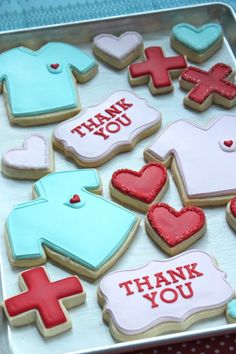 Cutter Tutorial Sweetopia's thank you nurse cookies. Also a bit on using a Tappit Cutter Tutorial for the lettersSweetopia's thank you nurse cookies. Also a bit on using a Tappit Cutter Tutorial for the letters Thank You Cookies, Fancy Cookies, Iced Cookies, Cut Out Cookies, Royal Icing Cookies, Cookies Et Biscuits, Cupcake Cookies, Sugar Cookies, Thank You Cupcakes