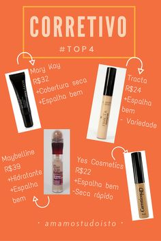 Amamos Tudo Isto: #TOP4 CORRETIVO: REVIEW #barato #makeup #corretivo Skin Makeup, Makeup Art, Makeup Tips, Make You Up, How To Make Hair, Beauty Tutorials, Beauty Hacks, Beauty Skin, Hair Beauty