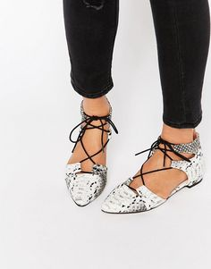 ASOS+LET'S+PLAY+Pointed+Lace-up+Ballet+Flats -- These kinda remind me of those shoes Duckie had in Pretty in Pink but you know..more chic