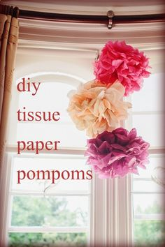 Paper Pom Poms...I find it works better if you use more tissue paper. LIke 10 or 12 sheets - much fuller