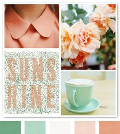 Peachy Keen & Minty Green via Creature Comforts Mint Color Palettes, Colour Pallette, Colour Schemes, Color Combos, Pastel Palette, Born To Die, Living Colors, Color Menta, Festa Party