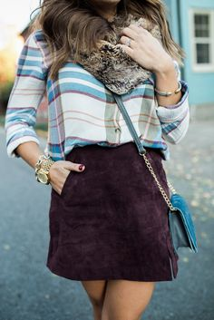 Fall Outfits to Copy // via Glitter & Gingham // Ft. Suede Skirt, plaid top, velvet heels