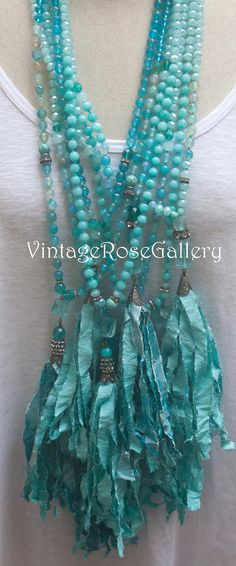 Saree CLICK Visit link above for more info Etsy Jewelry, Boho Jewelry, Jewelry Ideas, Verde Tiffany, Tiffany Blue, Tassel Necklace, Turquoise Necklace, Necklace Ideas, Modern Saree