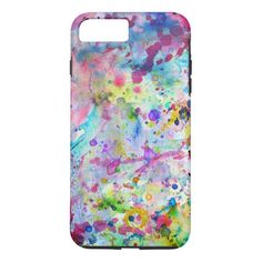 Abstract Bright Watercolor Paint Splatters Pattern iPhone 8 Plus/7 Plus Case