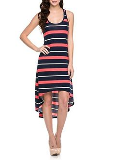 Sexy Striped Racerback Sleeveless Tank Maxi Asymmetric Hi-Low Hem Summer Dress