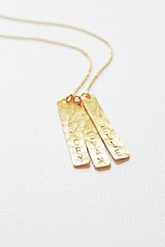 Personalized Vertical Gold Bar Necklace by PiccolaCustomJewelry, $44.00