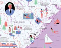 Illustrated map of Norway by Julia Adelova