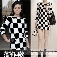 カジュアルな黒と白格子縞ドレス