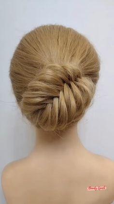 Front Hair Styles, Medium Hair Styles, Bun Hairstyles For Long Hair, Updo Hairstyles Tutorials, Girl Hair Dos, Bridal Hair Buns, Hair Videos, Hair Designs, Hair Hacks