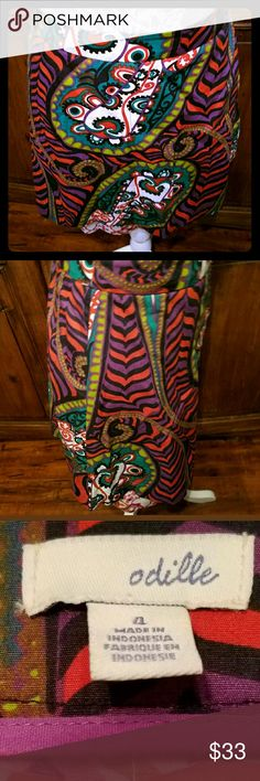 """Anthropologie Odille Skirt Multi Color size 4 RARE Anthropologie Odille Skirt Multi Color Cotton Layered Prints  Size 4  Side zip, clipped in back to fit the mannequin  Simply gorgeous  Measured laying flat  Waist 15""""  Length 19"""" Anthropologie Skirts"""