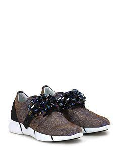 ELENA IACHI - Sneakers - Donna - Sneaker in tessuto lurex con pietre frontali rimovibili e suola in gomma extra light. Tacco 35, platform 20 con battuta 15. - NOTTE\BRONZO