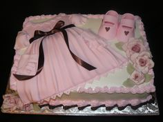 All Girl | Pink and brown baby shower cake. Fondant dress, b… | Flickr