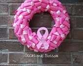 Pink and White Breast Cancer Awareness Ribbon Wreath