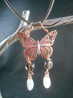 Metal Clay : Copper Butterfly & Gemstone Leather Necklace
