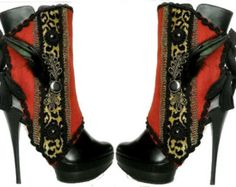 Sexy Spats in Red  and  Cheetah - Feather -Gold and black buttons- by J Souza