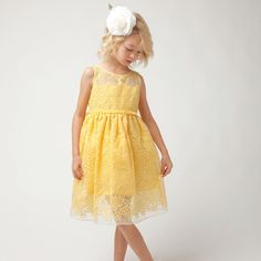4f6d80a25e Sweet Kids Yellow Embroider Lace Overlay Easter Dress Girl ... Girls Easter  Dresses