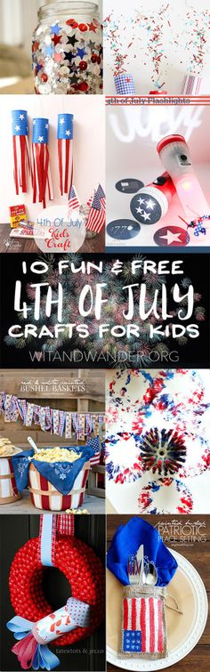 Find 10 Fun and Free 4th of July Crafts for Kids with fireworks, the American flag, red, white, and blue, and stars and stripes - Wit & Wander