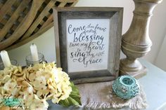 The temps are cooling down and it's time to break out the sweaters and the boots. Love this neutral fall vignette! (and a Come Thou Fount free printable) | Details and Printable at TheTurquoiseHome.com