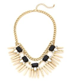 Tribal Siren Statement Necklace - Black and Ivory
