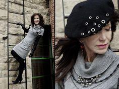 Sweaterdress, hat, earrings, and necklaces from Twigs. http;//www.twigs.ca Twigs Lookbook