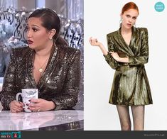 14c7161751e40a Adrienne s sequin blazer dress on The Real. Outfit Details  https   wornontv