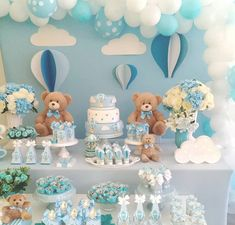 1 Ideias para Festa Ursinho Baloeiro Baby Shower Buffet, Boy Baby Shower Themes, Baby Shower Balloons, Baby Shower Cupcakes, Baby Shower Fun, First Birthday Party Themes, Baby Boy First Birthday, Baby Boy Decorations, Party Decoration