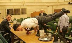 A world leader needs good upper-body strength.