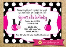 Printable Spa Party Invitation DIY - invite spa manicure pedicure girl birthday shower party nail polish pink child children polka dots
