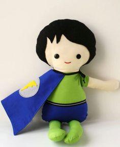 Scrappy Boy Super hero cloth rag doll felt hair by Scraps2Love