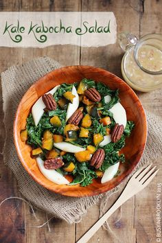 kale and kabocha squash salad with pears and pecans and a maple shallot dressing