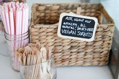 Design by Jessica de Velasco / photography by Amanda Julca  Custom wooden spoons, pink striped straws