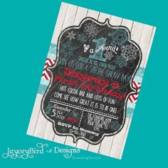 Snowflake First Birthday Invitation Red and Blue Christmas Holiday Winter Printable Party Invite 5x7 Digital by JayceyBirdDesigns on Etsy