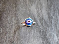 Evil Eye Ring Lampwork Ring Sterling Silver by GlassHouseLampwork