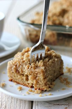 Coffee Cake with Crumble Topping and Brown Sugar Glaze
