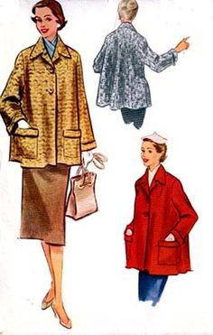 Vintage 50s McCalls 9166 FLARED Back/SWING Coat by sandritocat, $28.00 Vintage Sewing Patterns, Clothing Patterns, 1950s Fashion, Vintage Fashion, 50s Rockabilly, Moda Vintage, Swing Coats, Vintage Outfits, Retro