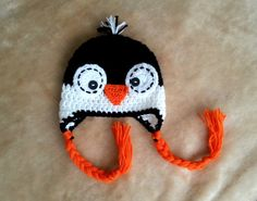 Crochet penguin hat newborn baby boy or girl by fridaysfactory