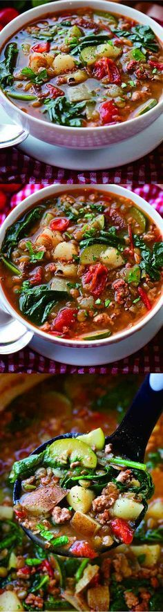 (Try with imitation ground beef)* This hearty tuscan lentil soup is packed full of veggies and protein! It's a breeze to make and can easily … Lentil Recipes, Veggie Recipes, Soup Recipes, Whole Food Recipes, Vegetarian Recipes, Dinner Recipes, Cooking Recipes, Healthy Recipes, Foodies