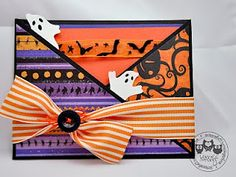 Halloween Card with great fold and pocket Halloween Paper Crafts, Halloween Projects, Halloween Cards, Halloween Themes, Fall Halloween, Happy Halloween, Halloween Party Drinks, Halloween Party Invitations, Fall Cards