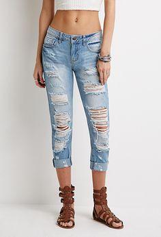 Destroyed Boyfriend Jeans   Forever 21 - 2000053360