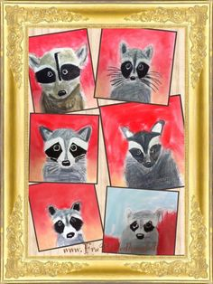 Vaskebjørne i min nye 4.klasse - raccoon art lesson 4th grade