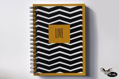 Elegant geometric notebook with black and white stripes by Sloshe, $4.50