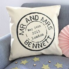 personalised wedding stamp cushion by tillyanna | notonthehighstreet.com