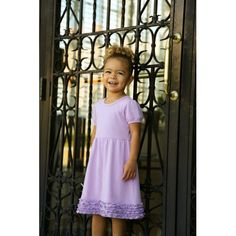 Girl's Ruffle Empire Waist Lilac Short Sleeve Dress