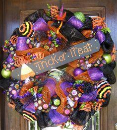halloween decomesh wreaths | 30 Deco Mesh TRICK or TREAT HALLOWEEN Wreath by decoglitz on Etsy