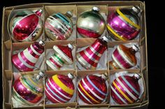 Box of 12, Vintage 1950's Christmas ornament, Stripes, trending, antique glass ornament decoration, decor, collectible, #3a